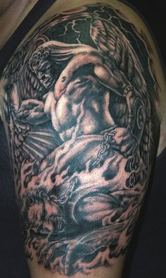 A unique tattoo of a native american angel holding a dove. An angel holding two scales. I'm sure this symbolizes something but I'm not sure what. This little angel is worried about something. An Angel ascending into heaven. Definitely the most muscular angel I've ever seen. These wings are fantastic. An amazingly drawn angel tattoo on rib cage. A unique design incorporating some geometric shapes. Angel with some candles in the background. Kind of a Betty Boop style angel tattoo.