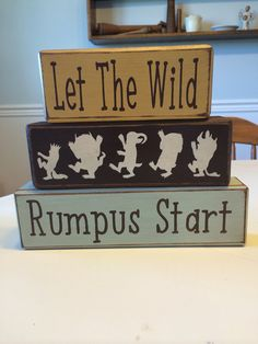 Where the wild things are baby gift nursery playroom children's literature unique personalized custom stacking wood blocks distressed on Etsy, $29.95