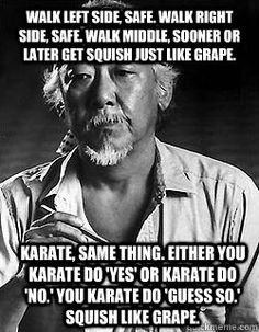 Walk left side, safe. Walk right side, safe. Walk middle, sooner or later get squish just like grape. Karate, same thing. Either you karate do 'yes' or karate do 'no.' You karate do 'guess so.' Squish like grape. Martial arts humor and movie quotes