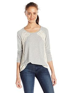 Eyeshadow Juniors Long Sleeve Super Soft French Terry Top with Crochet Lace Heather Grey Large >>> You can get additional details at the image link.(This is an Amazon affiliate link and I receive a commission for the sales)