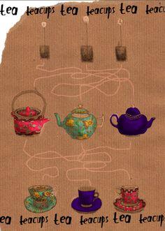 tea art on the Tea Appreciation Society's website Vintage Crockery, Vintage China, Tea Illustration, Illustrations, Happy Tea, Tea Art, Vintage Paper Dolls, My Cup Of Tea, Loose Leaf Tea