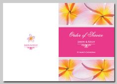 Pink Frangipani Order of Service cover. Wedding invitations and stationery also available. http://idovedesign.com.au/f2P-pink-frangipani-wedding-invitations-stationery.html
