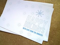 Letterpress Snow Flake Photo Card by armatodesign.com on Etsy armatodesign.etsy.com Customizable #letterpress #holiday photo cards. Each set includes 50 letterpress cards with your wording and in your choice of color and font, 50 white envelopes and 200 self adhesive photo corners. You just add your own photo. #christmas #photocard #custom #stationery #snowflake #modernholiday #modern