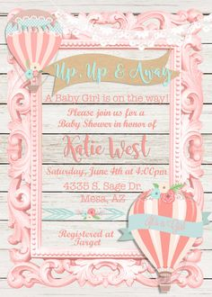 Hot air balloon baby shower invitation Up by MissBlissInvitations