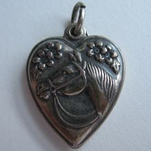 Vintage Sterling Puffy Heart Charm Horse