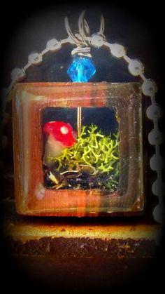 Enchanted terrarium Necklace with wood shadow by FairyGlowLantern, $26.00