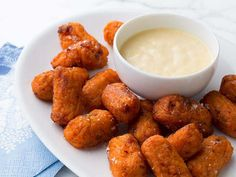 Get this all-star, easy-to-follow Sweet Potato and Bacon Tots with Creamy Mustard Dipping Sauce recipe from Melissa d'Arabian