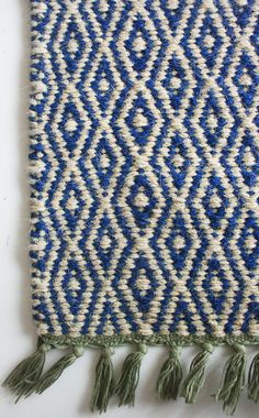 Blue diamond carpet in jute. Each one is handwoven with love on our traditional loom. This one is made from a cotton and jute mix. Shag Carpet, Blue Carpet, Rugs On Carpet, Textiles, Blue And White Rug, Blue Green, White Decor, Woven Rug, Jute Rug