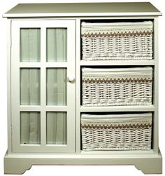 "Basket Cupboard with Glazed Door Height: 33- 84cm Width: 29"" - 74cm Depth: 14"" - 36cm"