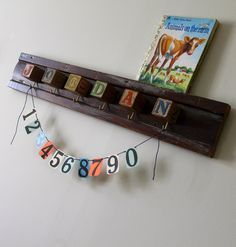 Baby Block Custom Name Hook Board by bluebirdheaven on Etsy, $68.00
