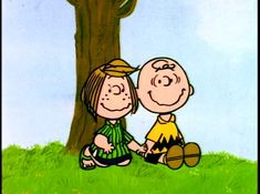 Meanwhile, Charlie Brown and Peppermint Patty are sitting under a tree discussing love and baseball - It's Arbor Day, Charlie Brown