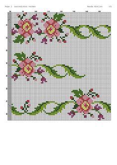Cross Stitch Borders, Cross Stitch Flowers, Cross Stitch Designs, Cross Stitching, Cross Stitch Patterns, Embroidery Patterns, Crochet Patterns, Crochet Yarn, Yarn Crafts