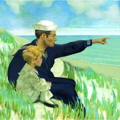 Fond memories of my young uncles being in the Navy.  Looking out to sea - Jessie Willcox Smith