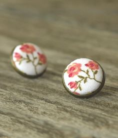 Stud Earrings Antique Button Jewelry Floral Fabric Covered Button Pink Boho Flower Shabby Elegance Wedding Chic Bridal Roses Earring Studs by PatchworkMillJewelry