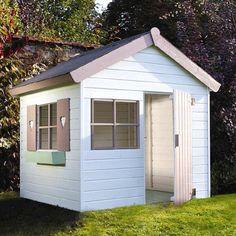 Jardipolys Janaka maisonette cabane enfant bois bleu blanc
