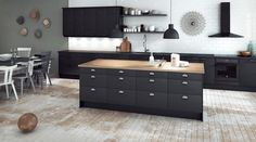 My future black kitchen from Epoq/Elgiganten. Kitchen Dining, Sweet Home, Home Kitchens, Household Furniture, Kitchen Design, Cool Chairs, Black Kitchens, Wrought Iron Wall Decor, Home Furnishings