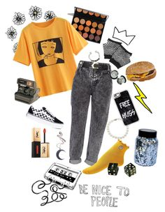 """""""yellow"""" by majastina-2004 on Polyvore featuring Hai, River Island, Vans, Hot Topic, Kill Star, Lord & Taylor, Casetify, Forever 21, Yves Saint Laurent and Polaroid"""