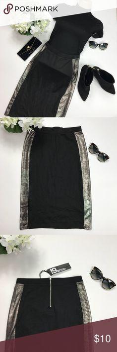 Metallic Side Panel Pencil Skirt Sporty-chic! This sexy pencil skirt has an on-trend twist. With metallic side panels, this has a sporty edge that's a must have this season. Perfectly teamed with smart separates for a cool party look or layered up for easy day outfits. Skirts Pencil