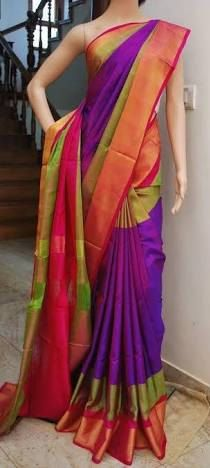 Uppada Purple with Green Color Silk Saree with Gold color border by UppadaPattu on Etsy