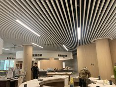 aluminum baffle ceiling Baffle Ceiling, Metal Ceiling, Ceiling Height, Fire Sprinkler, Construction Drawings, Ceiling Decor, Building Materials, Colorful Pictures, Aluminium Alloy