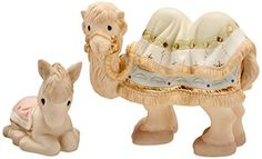 Precious Moments 159028 2 Piece Christmas Gifts Come Let Us Adore Him Nativity Camel & Donkey Bisque Porcelain Figurine Set