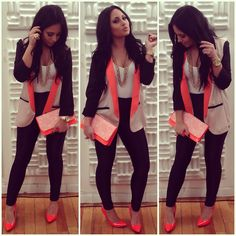 neon peach heels - black high-waisted jeggings/leggings or high-waisted black jeans - neon peach with white lace clutch - gold multi chain long necklace- gold watch - gold ring - white shirt tucked in - long vest (DIYing this..... body tan, fake pockets black, neon peach collar, black sleeves