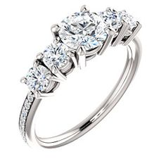 ISABEL style 122350 Accented Engagement Ring With 4 Side Stones #everandeverbridal