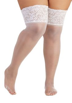 Stay in Lace Thigh Highs in White - Plus Size, @ModCloth
