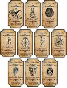 Details about Halloween Magic steampunk label glossy stickers set of 10 scrapbooking crafts Halloween Magic Steampunk Label Glossy Stickers set - Great Idea! Halloween Apothecary Labels, Halloween Bottle Labels, Halloween Potions, Halloween Magic, Apothecary Jars, Halloween Cards, Holidays Halloween, Vintage Halloween, Halloween Diy