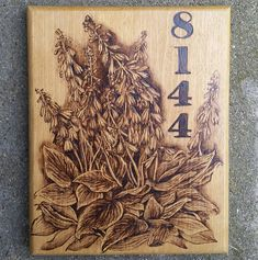 House number with florals placard / address woodburning