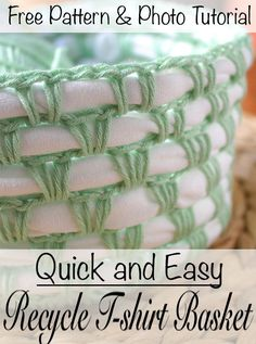 Use this free crochet pattern and photo tutorial to turn an old t-shirt into a usable basket. This pattern is quick and easy and great for beginners. When you are done you will have a unique up cycled basket. #basket #tshirtyarn #crochet