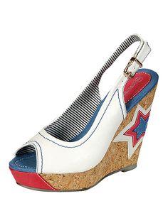 Look at this #zulilyfind! Reneeze White Star Excite Wedge Sandal by Reneeze #zulilyfinds