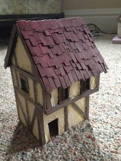 Houses for Warhammer, LOTR, or any other Medieval fantasy game. Popsicle House, Popsicle Stick Houses, Popsicle Stick Crafts, Craft Stick Crafts, Fantasy Town, Fantasy Castle, Medieval Fantasy, Dnd Mini, House Template