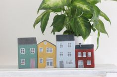 4 Wooden Houses by MelancoliaShop on Etsy