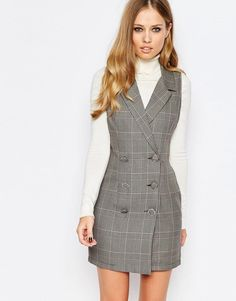 Buy Love Double Breasted Tuxedo Dress at ASOS. Get the latest trends with ASOS now. Plaid Fashion, Tomboy Fashion, Look Fashion, Girl Fashion, Womens Fashion, Look Blazer, Blazer Dress, Sexy Dresses, Fashion Dresses