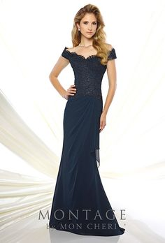 Style 116937, off-the-shoulder chiffon and lace fit and flare gown, price upon request, Montage by Mon Cheri