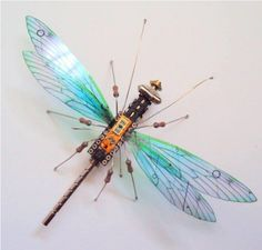 Artist converts components from discarded devices into winged insects. | UK-based artist Julie Alice Chappell has chosen an unusual medium for her sculptures – discarded electronics. She tears out circuit boards and other components from broken devices, and converts them into delicate insect figurines.