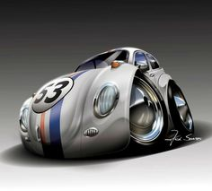 Cartoon Disney's Herbie VW Racer #2