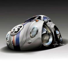 Cartoon Disney's Herbie VW Racer #2