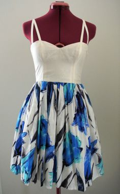 Isola Dress in Blue and White by Denise SL Spalk SOLD OUT