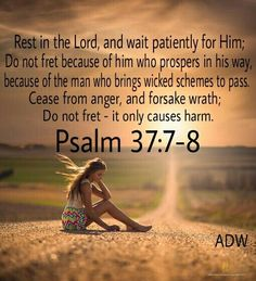 Psalm 37:7-9 ~7 Rest in the LORD and wait patiently for Him; Do not fret because of him who prospers in his way, Because of the man who carries out wicked schemes. 8 Cease from anger and forsake wrath; Do not fret; it leads only to evildoing. 9 For evildoers will be cut off, But those who wait for the LORD, they will inherit the land.