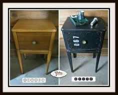 Industrial Faux Metal Nightstand - Patina Paradise