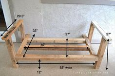 I built the pallet wood sofa (part Funky Junk Interiors: How I built the pallet sofa I WILL be doing this one this weekend!Funky Junk Interiors: How I built the pallet sofa I WILL be doing this one this weekend! Pallet Furniture Plans, Furniture Projects, Diy Furniture, Painted Furniture, Outdoor Furniture, Pallet Furniture Measurements, Furniture Design, Furniture Storage, House Furniture