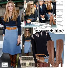 """Love the boots by Chloe $2,750. Protect your leather investment with WhooHoo-Clean Leather Care, available on http://www.amazon.com/Leather-Conditioner-Investment-Furniture-Leather/dp/B00EECWG7A.  """"Olivia Palermo-Chloe Fashion Show 2014"""" by kusja on Polyvore"""
