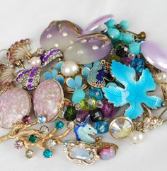 Purple and Blue, Craft Jewelry Destash, Broken Vintage Estate Jewelry Collection, Clip on earrings and Brooches