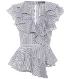 Alexander McQueen - Ruffled poplin top - Cascading ruffles and an asymmetric peplum hem on this black and white striped top channel Alexander McQueen's penchant for romantic separates. Crafted in Italy from cotton-poplin, the sleeveless style has a deep V neckline and a banded waist, achieving an elegant silhouette that flatters the figure. Style yours with cropped black trousers and mules for a polished 9-to-5 ensemble. seen @ www.mytheresa.com