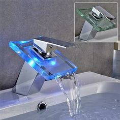 Shop For Color Changing LED Waterfall Bathroom Sink Faucet (Chrome Finish)  At Www.
