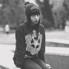 """Baphomet Lotus"" Sweatshirt available at www.crmc-clothing.co.uk | WE SHIP WORLDWIDE Model - @theyasminbenoit Photography by @mmmgodfrey  #winter #alternative #fashionstatement #fashiongram #fashionista #instastyle #stylegram #alternativemodel #beanie #alternativeblackgirl #blackmodel #winteriscoming #beaniehat #occult #pentagram #fashionoftheday #dailyfashion #styles #style #alternativegirl #alternativeteen #instagrammers #instafamous #igers #love #instagood"