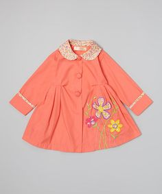 Another great find on #zulily! Coral Daisy Coat - Toddler & Girls #zulilyfinds