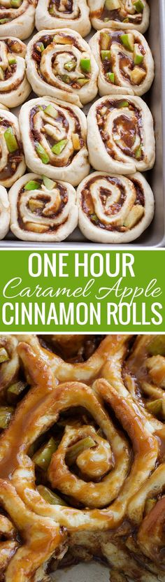 Caramel Apple Cinnamon Rolls - Ready in 1 Hour and so good! Perfect for apple season! #cinnamonrolls #onehourcinnamonrolls #breakfastrolls | Littlespicejar.com /littlespicejar/